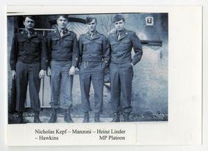 Primary view of object titled '[Four Members of 12th Armored Division MP Platoon]'.