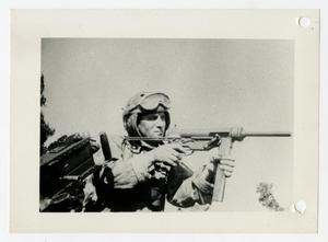 Primary view of object titled '[Photograph of Soldier with Burp Gun]'.