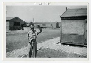 Primary view of object titled '[Photograph of Soldier in Camp]'.