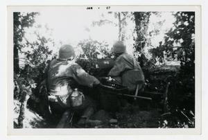 Primary view of object titled '[Photograph of Soldiers Operating Machine Gun]'.
