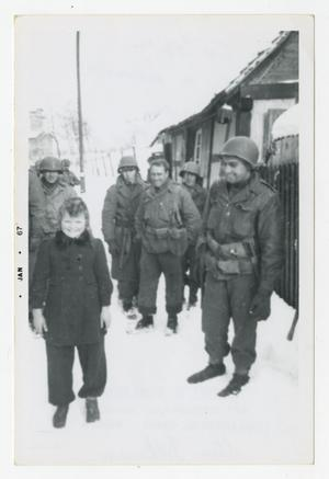 Primary view of object titled '[Photograph of Soldiers and Girl in Snow]'.