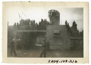 Primary view of object titled '[Soldiers on Docked Ship]'.