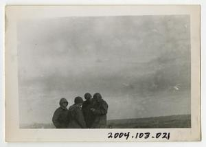 Primary view of object titled '[Photograph of Captain and Soldiers in Field]'.