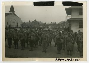 Primary view of object titled '[Photograph of Soldiers Preparing to March]'.