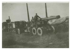 Primary view of object titled '[Photograph of Soldier with Cannon]'.