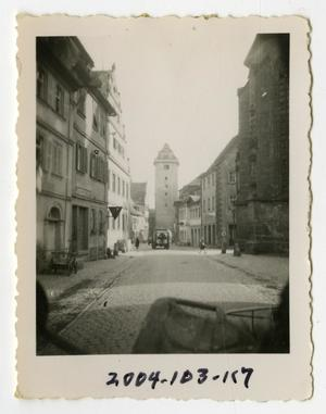 Primary view of object titled '[Photograph of Army Ambulance on German Street]'.