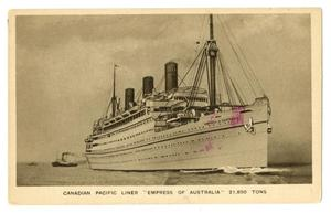 "Primary view of object titled '[Postcard of Canadian Pacific Liner ""Empress of Australia""]'."