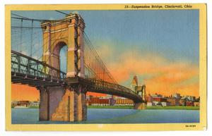 Primary view of object titled '[Postcard of Suspension Bridge in Cincinnati]'.