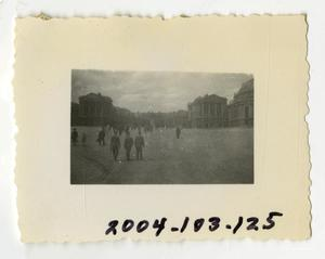 Primary view of object titled '[Photograph of Soldiers in German City Square]'.