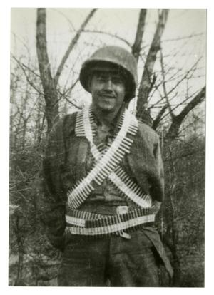 Primary view of object titled '[Photograph of Soldier With Ammo Belt]'.