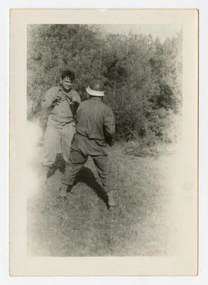 Primary view of object titled '[Photograph of Soldiers Sparring]'.