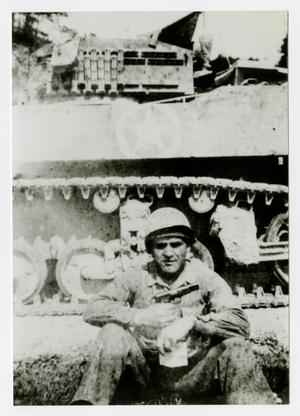 Primary view of object titled '[Photograph of Soldier and Tank]'.