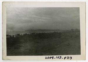 Primary view of object titled '[Photograph of Armored Artillery on Beach]'.