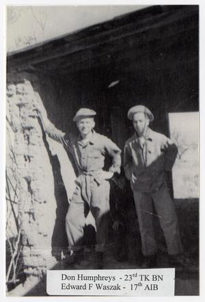 Primary view of object titled '[Humphreys and Waszak Inspecting Adobe Ruins]'.