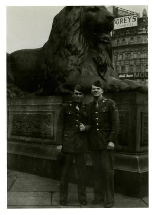 Primary view of object titled '[Photograph of Soldiers at Trafalgar Square]'.