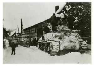 Primary view of object titled '[Photograph of Snow-Covered Tanks]'.
