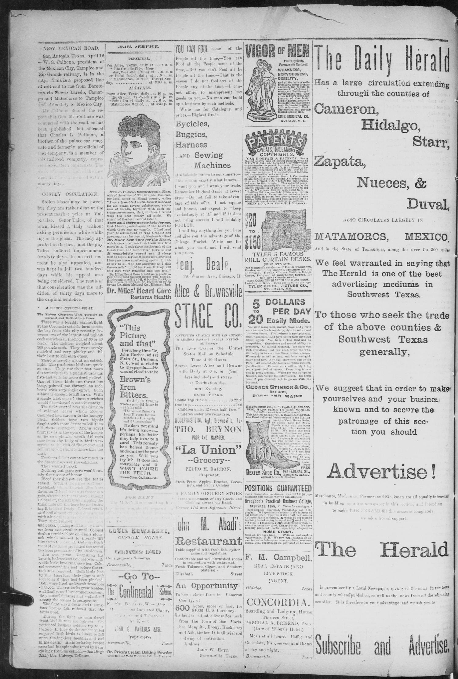 the daily herald brownsville tex vol 3 no 315 ed 1 thursday april 18 1895 page 8 of 8 the portal to texas history