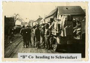 Primary view of object titled '[B Company Moving Towards Schweinfurt]'.