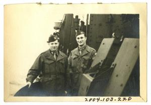 Primary view of object titled '[Two Young Men on a Ship]'.