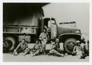 Primary view of object titled '[Photograph of Soldiers and Truck]'.