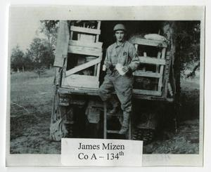 Primary view of object titled '[Photograph of James Mizen Exiting Truck]'.