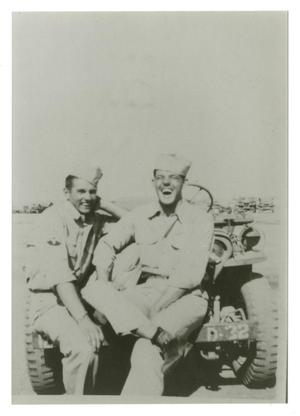 Primary view of object titled '[Photograph of Soldiers on Jeep]'.