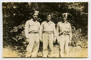 Primary view of object titled '[Photograph of Henry Rohrbeck and Two Other Soldiers]'.