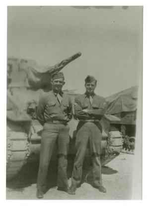 Primary view of object titled '[Photograph of Soldiers and Tank]'.