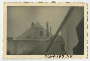 Primary view of object titled '[Photograph of Building with Nazi Symbol]'.
