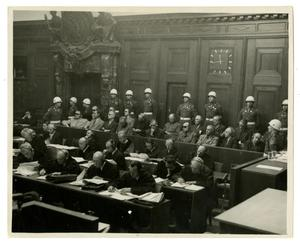 Primary view of object titled '[Photograph of Nuremberg War Trials]'.