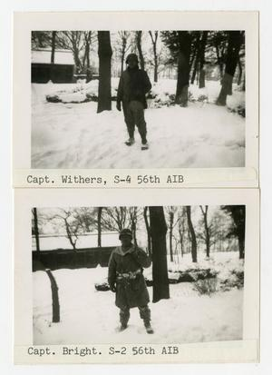 Primary view of object titled '[Captain Withers and Bright in Snow]'.