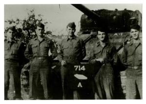 Primary view of object titled '[Photograph of 714th Tank Battalion Soldiers and Tank]'.