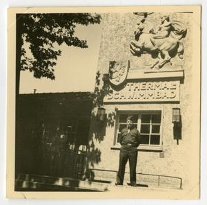 Primary view of [Photograph of Soldier Outside Swimming Pool Building]