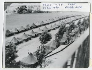 Primary view of object titled '[Tent City at Camp Crossman]'.