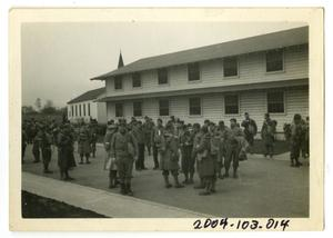 Primary view of object titled '[Photograph of Soldiers in Barracks Area]'.