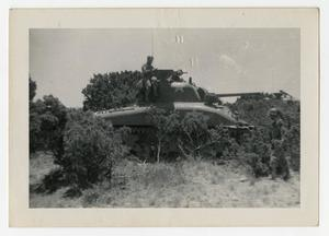 Primary view of object titled '[Photograph of Soldier on Tank]'.