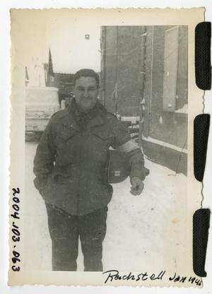 Primary view of object titled '[Photograph of Captain Reichstell in Snowy Street]'.