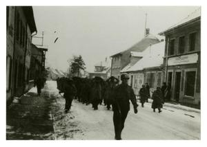 Primary view of object titled '[Photograph of Soldiers Marching with Prisoners]'.