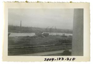 Primary view of object titled '[Train Tracks Near River]'.