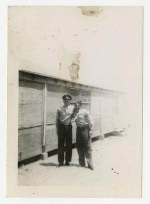 Primary view of object titled '[Photograph of Soldiers Outside Building]'.