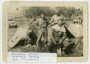 Primary view of object titled '[Photograph of Russel Spors, Winfred Cheek, and Bob Rowlands]'.
