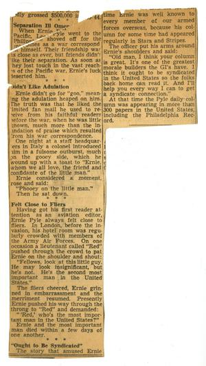 Primary view of object titled '[Newspaper Clipping About Ernie Pyle]'.