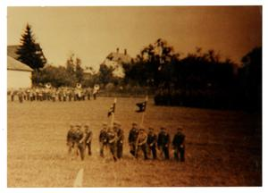 Primary view of object titled '[Photograph of Soldiers Marching in Field]'.
