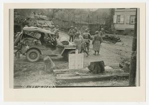 Primary view of object titled '[Photograph of Soldiers with Jeep and Tank]'.