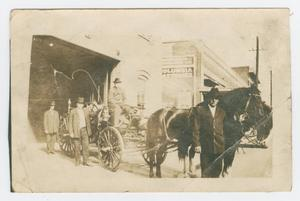 Primary view of object titled '[Black Horses Pulling Fire Engine]'.