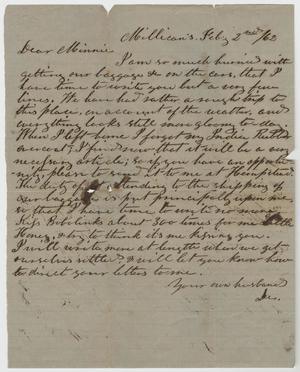 Primary view of object titled '[Letter from L. D. Bradley to Minnie Bradley - February 2, 1862]'.