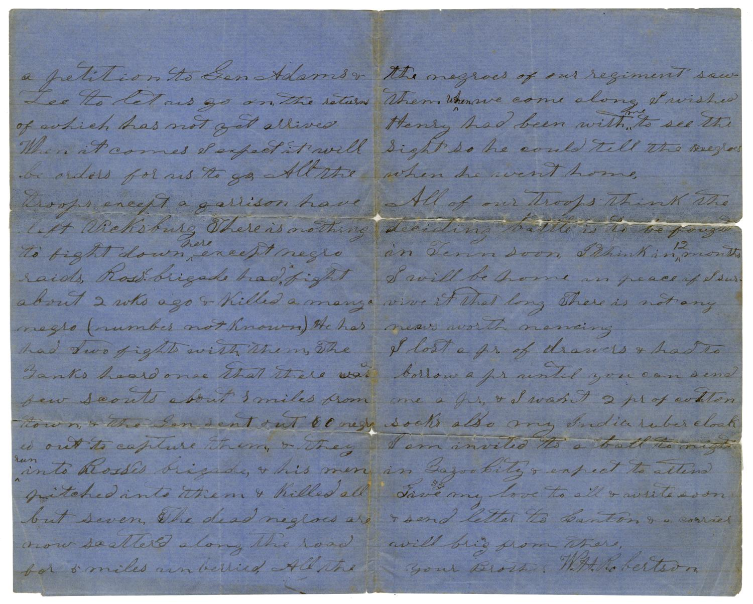 [Letter from W. H. Robertson - April 11, 1864]                                                                                                      [Sequence #]: 2 of 3