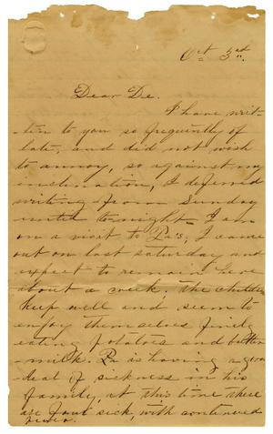 Primary view of object titled '[Letter from Minnie Bradley to L. D. Bradley - October 3]'.