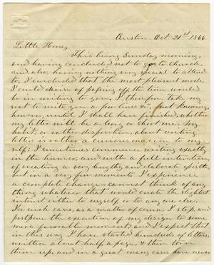 Primary view of object titled '[Letter from L. D. Bradley to Minnie Bradley - October 21, 1866]'.
