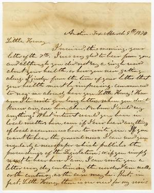 Primary view of object titled '[Letter from L. D. Bradley to Minnie Bradley - March 9, 1874]'.